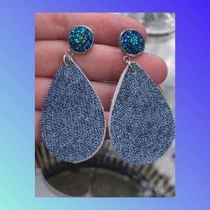 Blue Jean Faux Leather Earrings with stone
